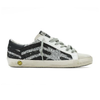 Sneakers Superstar Silver Glitter Black Flag by Golden Goose Deluxe Brand-24EU