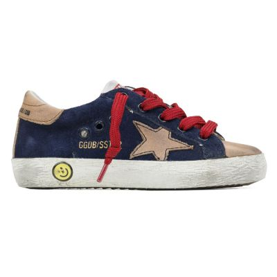 Sneaker Superstar Navy Suede Natural Star by Golden Goose Deluxe Brand