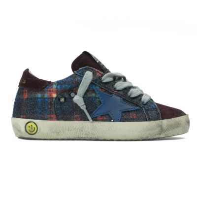 Sneaker Superstar Check Blue Glitter by Golden Goose Deluxe Brand