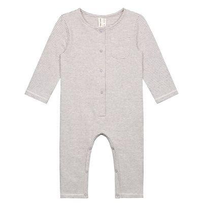 Baby Playsuit Grey Melange/Cream Stripes by Gray Label-3M