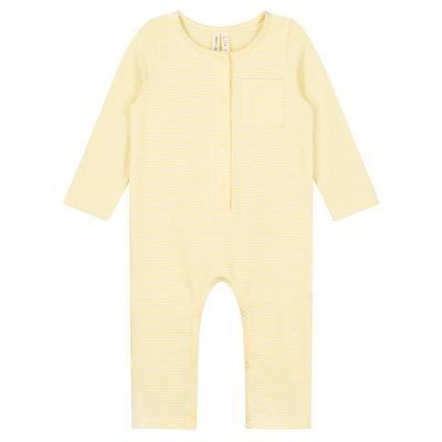Baby Playsuit Mellow Yellow/Cream Stripes by Gray Label-3M