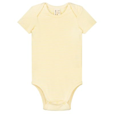 Baby Onesie Mellow Yellow/Cream Stripes by Gray Label-3M