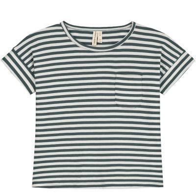 Baby Boxy Tee Blue Grey/Off-White by Gray Label-24M