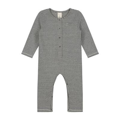 Baby Playsuit Nearly Black Cream Striped