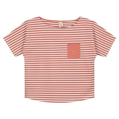 Pocket Tee Faded Red Off-White Striped-3Y