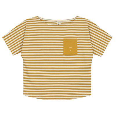 Baby Pocket Tee Mustard Off-White Striped-18M