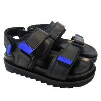 Double Velcro Strap Leather Sandals With Blue Details by Gallucci