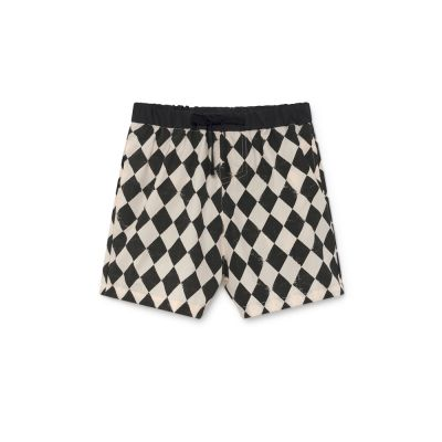 Tiny Diamond Bathing Shorts Black and Cream by Little Creative Factory
