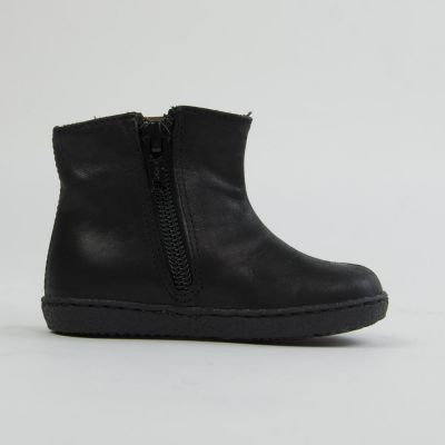 Leather Baby Boots With Zip Black by Pepe Children Shoes-19EU