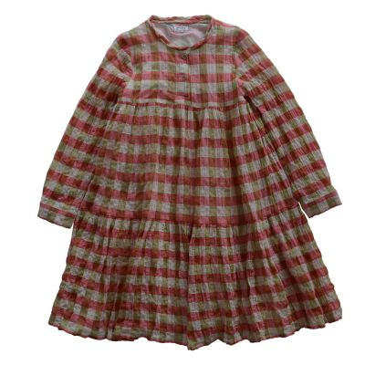 Long Dress Hippie Red/Green Check by Morley-4Y