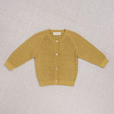 Cotton and Silk Baby Cardigan Openwork Ochre-3M