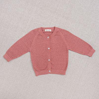 Cotton and Silk Baby Cardigan Openwork Rose by Ketiketa