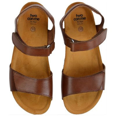 Two Con Me - Sandals Velcro Closure Brown by Pepe Children Shoes