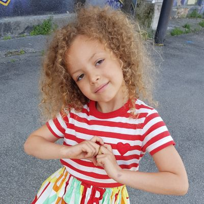 T-Shirt Azhar Red Stripes and Padded Heart by Touriste-4Y