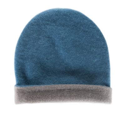 Reversible Cashmere Hat Simplex Blue/Dark Grey by Warm-Me
