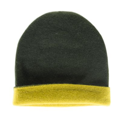 Reversible Cashmere Hat Simplex Green/Yellow by Warm-Me