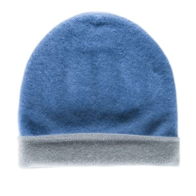 Reversible Cashmere Hat Simplex Light Blue/Grey by Warm-Me