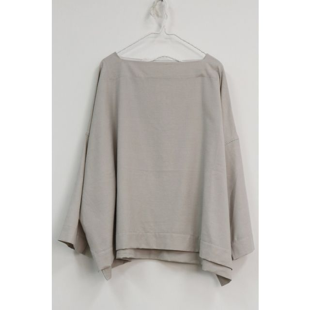 Wool and Silk Oversized Basque Shirt Snow by Toujours