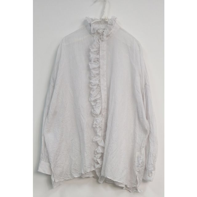 Band Collar Ruffle Wide Shirt Snow White by Toujours