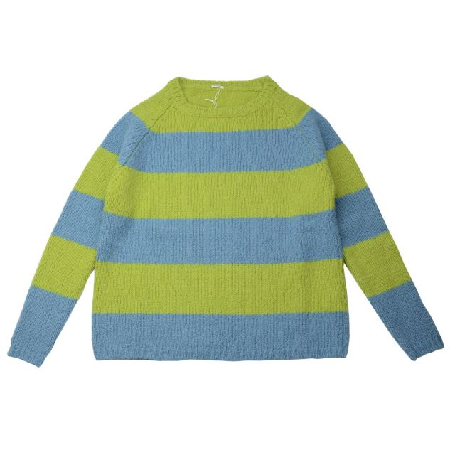 Wool Pullover Green Blue Striped by ApuntoB