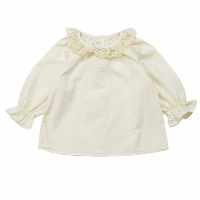 Baby Blouse with Lace Collar Ecru
