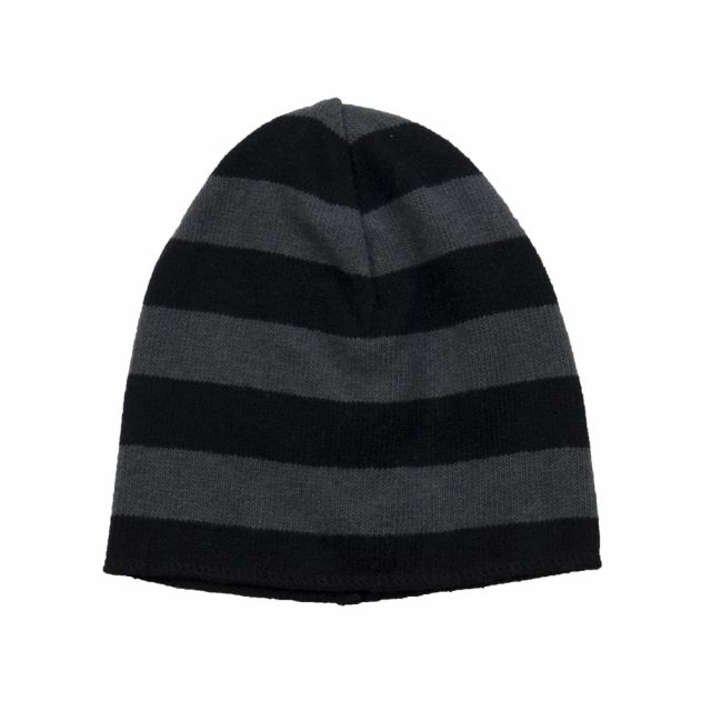 Soft Jersey Baby Beanie Grey/Black Striped by Babe & Tess