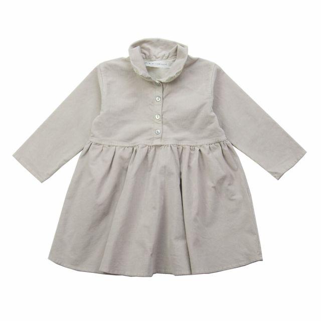 Ribbed Velvet Baby Collar Dress Nude