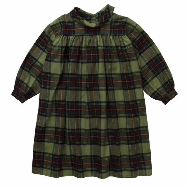 Long Flannel Dress Magma Army Check by Morley