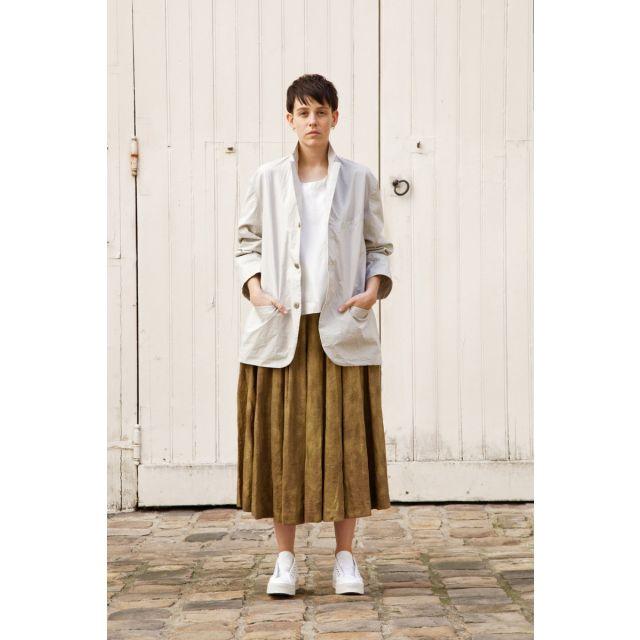 Linen Pleated Skirt Solange Brass by Ecole de Curiosites