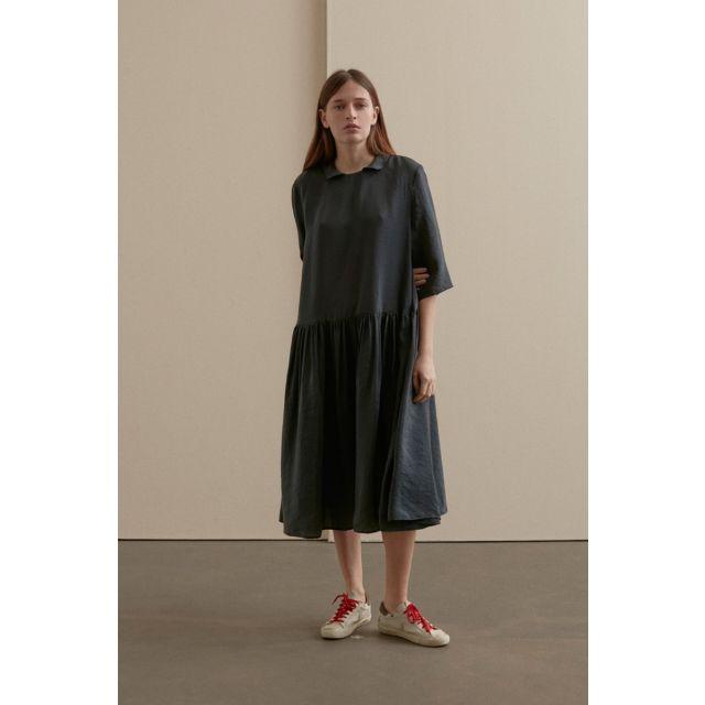 Round Collar Dress Green Black by Apuntob
