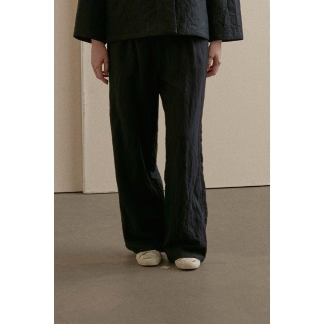 Wide Leg Woolen Trousers Black by Apuntob