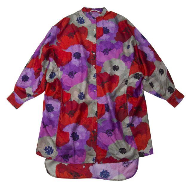 Long Silk Shirt Flower Print by Pero